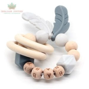 Hochet ou anneau de dentition en bois naturel