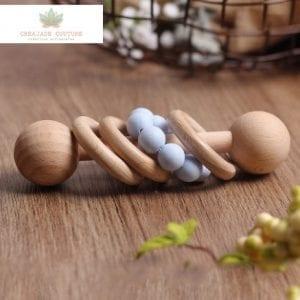 Hochet en bois Montessori non traité – Bleu