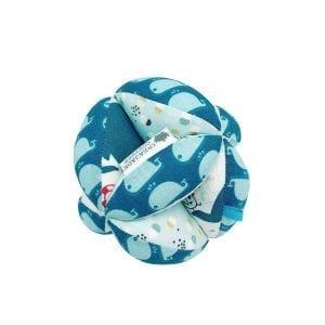 Balle de préhension Montessori – Bleue Baleines