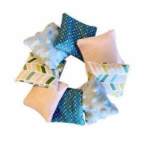 Coussins sensoriels Montessori – Bleu Rose