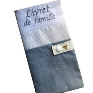 Protège livret de famille personnalisable – Blanc gris